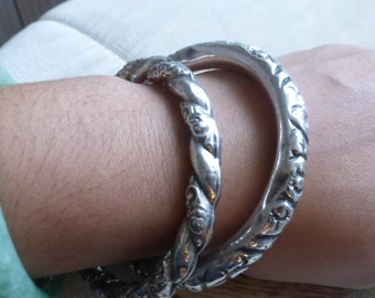 Set of 2 Rare Victorian sterling puffed Repousse bangle bracelets preloved and previous Repair