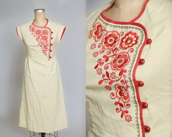 1950s Asian Embroidered Red & Yellow Imperial Wiggle Dress