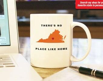 Virginia VA Coffee Mug Cup, No Place Like Home, Gift Present, Wedding Anniversary, Personalized Color, Custom Location Richmond, Roanoke