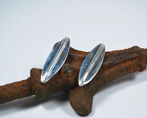 Post Earrings - Sterling Silver Post Earrings - Leaf Earrings - Mid-Century Earrings