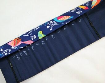 Interchangeable Needle Case- Holds 3mm-10mm interchangeable needle tips. Bird fabric