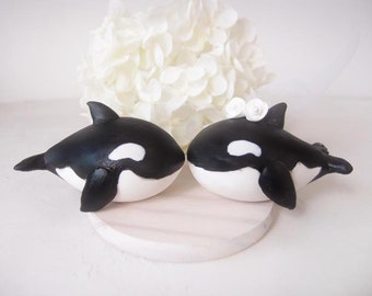 Love Wedding Cake Toppers -Orca with base