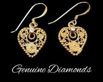 Genuine Diamond & Gold Heart Earrings, Gold Over Sterling Silver, Gold Hearts, Gold Filigree, Diamond Earrings, Gift For Her