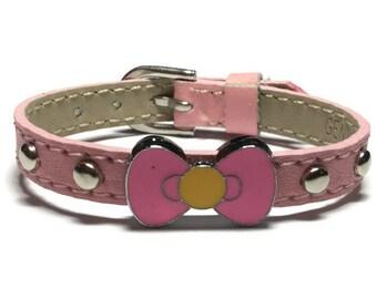Little Girl's Bracelet - Kids Bow Bracelet - Children Slide Charm Leather Buckle Bracelet - Little Girl's Buckle Bracelet