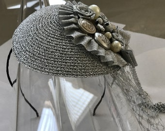 Silver Straw Fascinator Hat with Beaded Chain Appliqué, Veil, and Satin Headband, for weddings, parties, special occasions