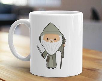 Grey Wizard Mug, Unique Coffee Mug, Illustrated Mug, Cute Mug, Gifts for Him, Gifts for Her, Fantasy Mug, Geek Mug