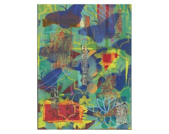 CHINATOWN 3, zen art, ORIGINAL 9x12 PAINTING, meditation, grafitti art, butterflies, impasto,  by Elizabeth Rosen