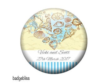 Wedding favor magnets, 20 personalised beach wedding favor magnet keepsakes