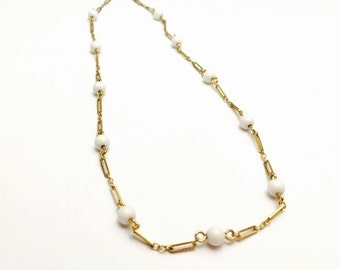 Vintage Monet Necklace, Gold Tone, round white beads, Clearance Sale, Item No. B351