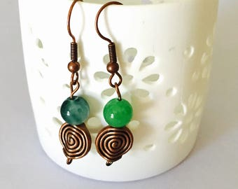 Jade EARRINGS, copper Tone Earrings, Hand Made in the USA, Item No. B780
