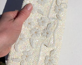 1960's Hand Beaded and Sequined Clutch Evening Bag