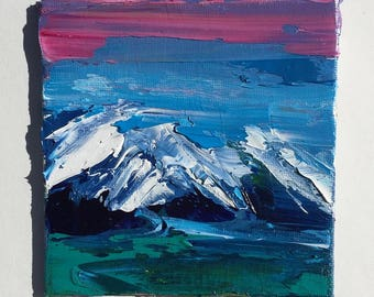 """Original 4"""" x 4"""" Oil Painting, impasto painting, small art, contemporary painting, landscape painting, mountain art"""