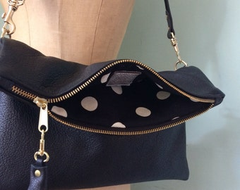 Black leather clutch, leather purse, black evening handbag