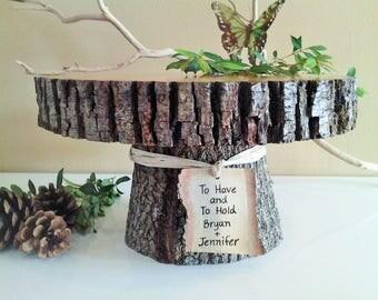 "11"" wood cake stand, Tree bark cake stand, Tree slice, Personalized cake stand, Rustic wedding cake stand, Wood cake stand, Wood tree rounds"