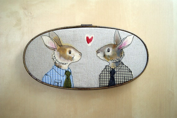 rabbit couple - embroidery art - free motion stitching - hoop art - fabric art - male couple