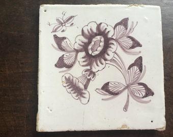 Antique Dutch Manganese Tile