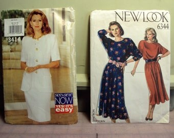 Package of two patterns, New look pattern dress, See and sew dress, 1980  style