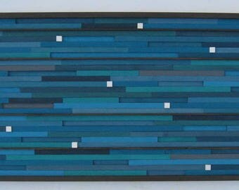 Reclaimed Wood Wall Art- Teal Wood Wall Art- Large Art-Wood Wall Sculpture- Painting- Abstract/Blue