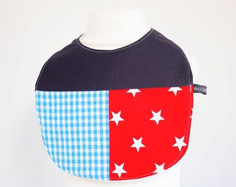 Baby bib - stars, red, blue, limited edition (UK seller)