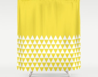 36 colours, Buttercup, Geometric Triangles Half Pattern Shower Curtain, bathroom shower curtains, Yellow and white triangles bathroom decor