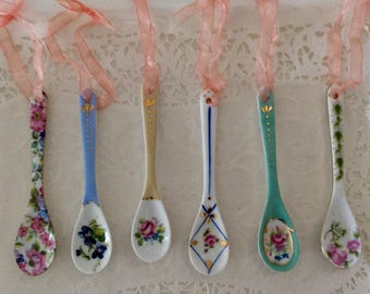 Porcelain Spoons -Delton Products Corp - Decorative Floral Demitasse ceramic spoons - Demitasse- for display - collectible - Spoon collector