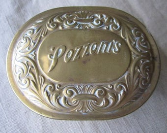 Vintage  Pozzoni's Brass Powder Box from the early 1900's.  Marked Patent Applied for.  Granted 1912.