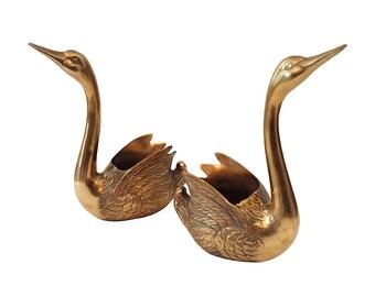 Brass Swan Planters, Pair