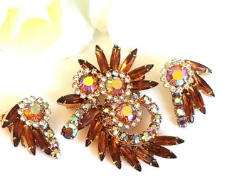 Vintage Juliana Rhinestone Brooch & Earring Set Topaz and Aurora Borealis Rhinestones Jewelry Set