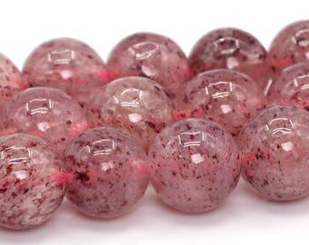 "7MM Strawberry Quartz Beads Grade AA Genuine Natural Gemstone Full Strand Round Loose Beads 15.5"" BULK LOT 1,3,5,10 and 50 (101511-381)"
