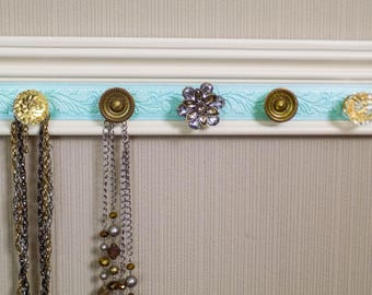 YOU CHOOSE 5,7 Or 9 KNOBS Jewelry organizer This necklace holder on  off-white w/ embossed turquoise section makes beautiful jewelry storage