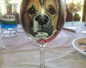 Pet Portrait on wine glass, dog portrait on glass, cat, horse, Shot glass Hand Painted