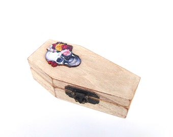 Coffin Box - Skull Box - Engagement Ring Box - Ring Bearer Box - Jewelry Box - Goth - Dia de los Muertos