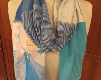 UPCYCLED t-shirt scarf ... Elsa... Frozen ... Disney ... blue and white