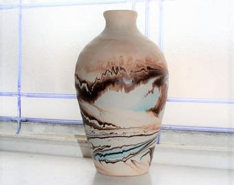 Vintage Nemadji Pottery Vase 7.75 Inch Swirl Pottery Brown Orange Turquoise