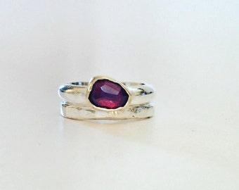 Garnet Ring - Large Garnet Ring with Gold Setting - Mixed Metal
