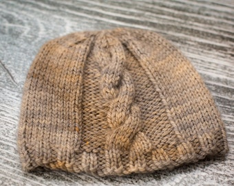 Hand Knit Baby Cable Beanie Hat - Grey/Beige - 3-6m - Ready to Ship, UK Seller