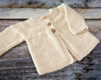 Hand Knit Yoked Baby Cardigan - Natural - 0-6 months 100% Alpaca, handmade baby clothes