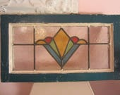 Vintage Shabby Stained Glass Salvage Window Farmhouse Chic Prairie Primitive