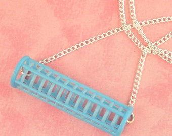 Blue Hair Roller Curler Necklace - Beauty School Drop Out - Vintage Inspired - Pin Up Necklace - Rockabilly Jewellery - Retro - 50s
