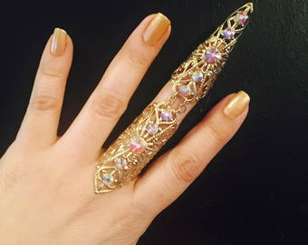 Full finger ring,nail guard,claw ring,full armor ring, vintage style filigree,gold color metal, decorated with Ab crystals,sizable.