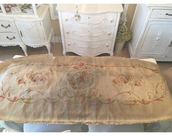 Extraordinary Large Antique French Victorian Aubusson worn and tattered tapestry piece with rose baskets and cherub. Very Marie Antoinette