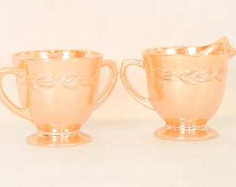 Vintage Fire King Footed Creamer and Sugar Bowl Orange Peach Opalescent Kitchen Decor Tableware Lustreware 1950s bridal shower