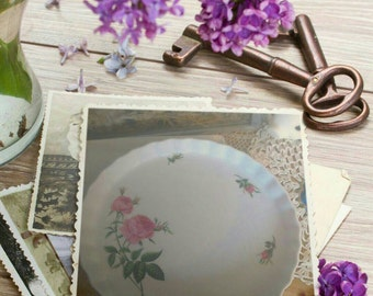 Shabby Chic Vintage Pie Plate Pink Roses