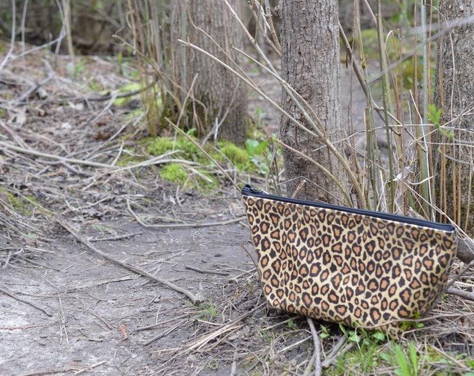 Handmade Leopard Print Large Makeup Bag