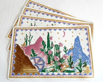 Vintage 90's Southwest Desert Placemat Set of 4