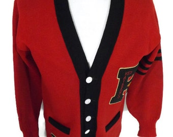 1930s Letterman Varsity Sweater Red Raider Number 60 Year 1933 Three Stripes