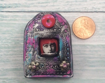 Modern Pink Lady Polymer Clay Brooch or Necklace