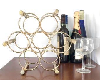 Vintage Brass Wine Rack Circular Wine Bottle Storage Wine Bottle Holder Mid-Century Brass Home Decor Hollywood Regency Faux Bamboo Brass