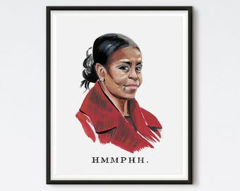 Michelle Obama - Michelle Obama Painting - Michelle Obama Portrait - Feminist Art - Political - Unimpressed Michelle Obama - Funny Portrait
