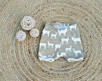 organic baby toddler shorts sizes 000 to 2 elk shorts deer shorts